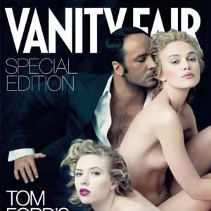 Tom Ford bien entouré par Keira Knightley et Scarlett Johansson.