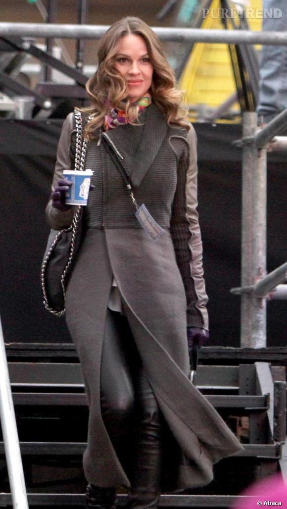 Hilary Swank en plein tournage de son nouveau film New Year's Eve, à New-York.