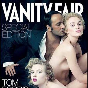 Une célèbre couverture de Vanity Fair avec Scarlett Johansson et Keira Knightley nues, au côté de Tom Ford.
