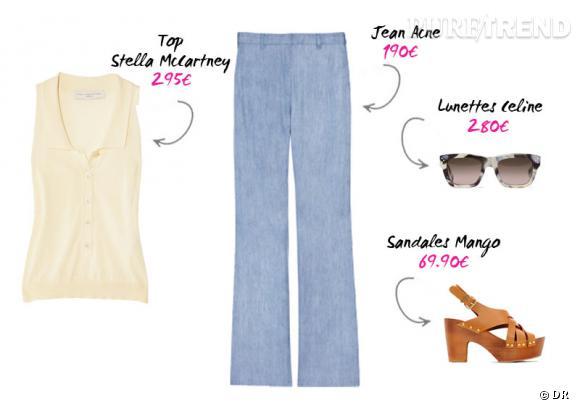 Top Stella McCartney et pantalon Acne sur www.net-a-porter.com, sandales Mango et lunettes Céline.