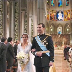 Princesse Letizia et Felipe d'Espagne se marient en 2004.