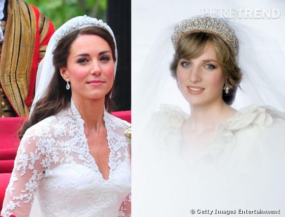 Kate Middelton et Lady Diana le jour de leurs mariages respectifs.
