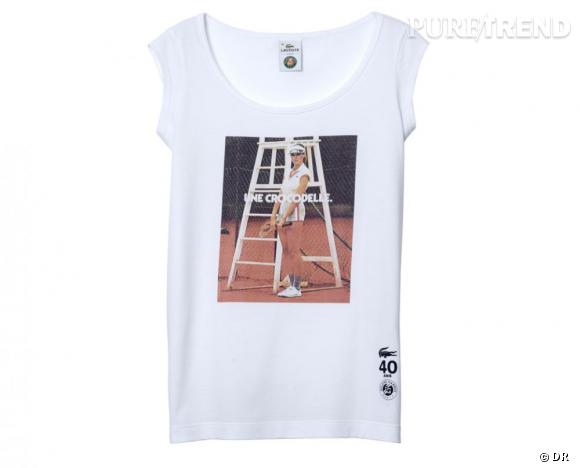 "T-shirt Lacoste & Roland Garros Special edition anniversaire 40 ans ""Crocodelle"", 60 €."