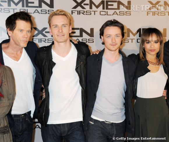 """À l'avant-première de """"X-Men"""", Kevin Bacon, Michael Fassbender, James McAvoy et Zoë Kravitz font sensation."""