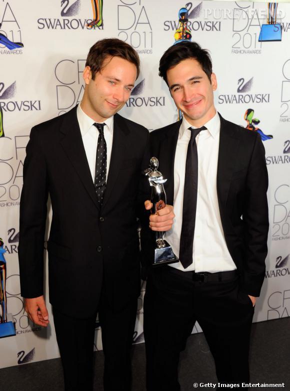 Lazaro Hernandez et Jack McCollough, le duo derrière Proenza Schouler, gagnants hier du CFDA Award 2011 des meilleurs créateurs prêt-à-porter femme avec Proenza Schouler.