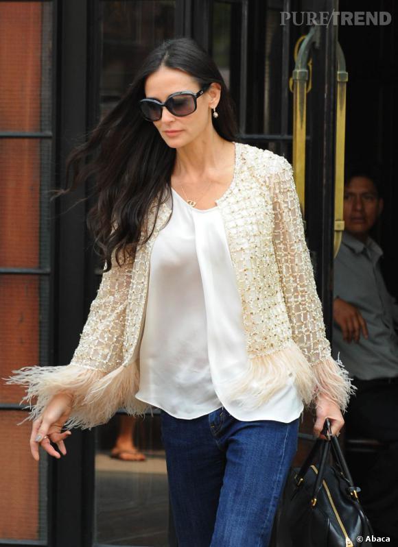 Demi Moore à la sortie de son hôtel new-yorkais.