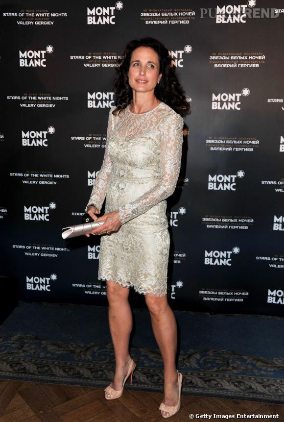 """Andie MacDowell, invité d'honneur pour les """"Montblanc Voices Awards"""", en Russie."""