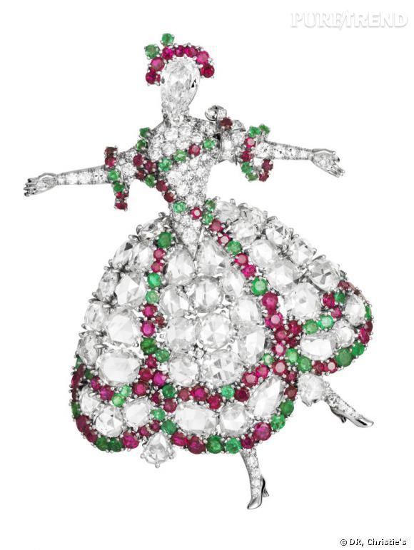 Broche Camargo, 1942       Platine, diamants, rubis, émeraudes.   Collection privée.