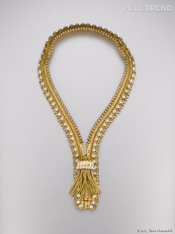 Collier/bracelet Zip, 1952       Or jaune et diamants.   Collection California.