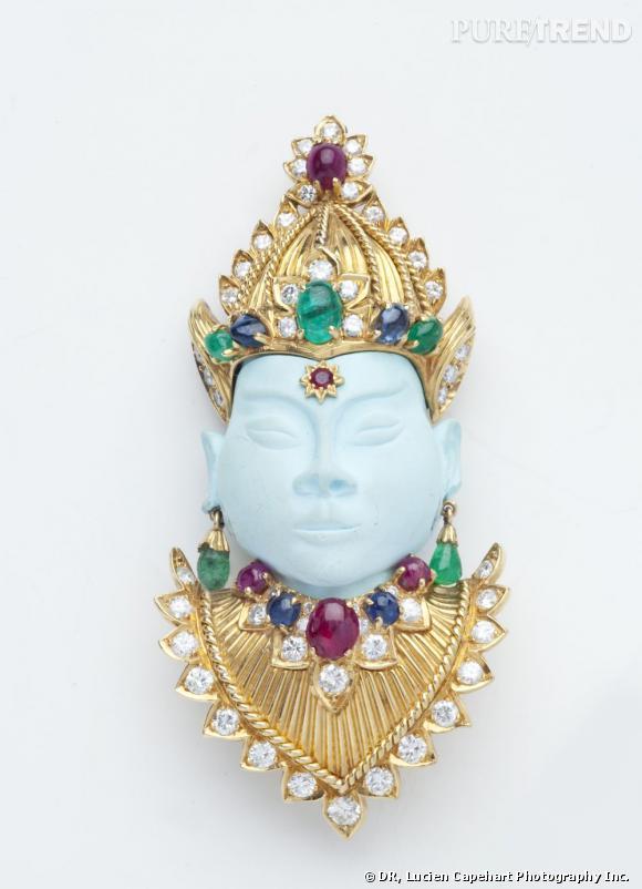 """Broche """"Tête de déesse"""", 1970       Or jaune, turquoise, rubis, émeraudes, saphirs et diamants.   Collection Richters of Palm Beach."""