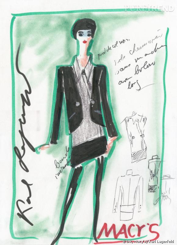 Croquis de la collection Karl Lagerfeld pour Macy's, automne-hiver 2011/2012.