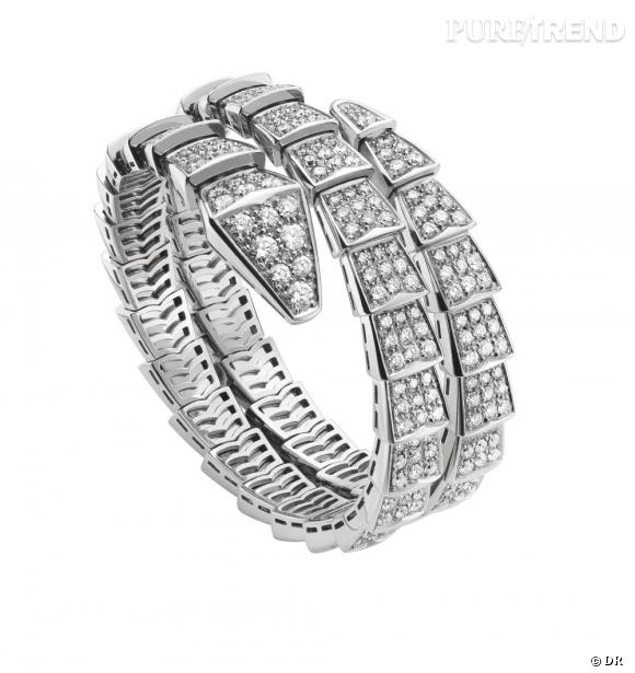 Bracelet Serpenti en or blanc et diamants.