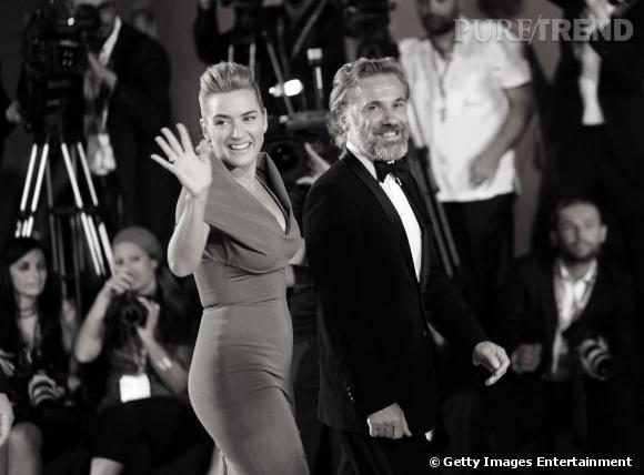"""Kate Winslet et Christoph Waltz, très élégants pour présenter le film de Roman Polanski """"Carnage""""."""