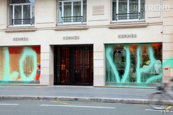 Une boutique Hermès nouvelle victime du graffeur Kidult, c  039 était ... 26ad9ba84a0