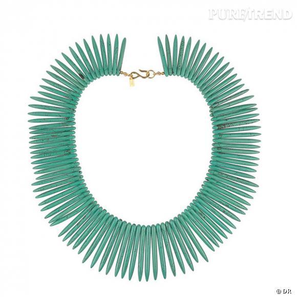 """Collier Kenneth Jay Lane  Collier plaqué or et """"piques"""" en sodalite turquoise.  Prix : 72€ En vente sur www.net-a-porter.com"""
