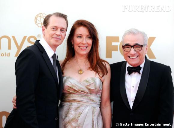"""Martin Scorsese et les acteurs de """"Boardwalk Empire"""", Steve Buscemi et Jo Andres."""