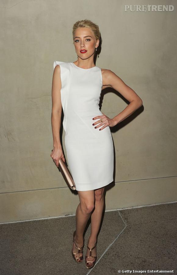 Amber Heard lors du dîner privé organisé par Giorgio Armani et Vanity Fair à Los Angeles.