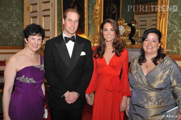 Kate Middleton lors d'une soirée de charité avec le Prince William, à Londres.
