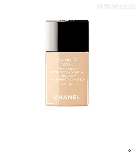 Shopping : les meilleurs fonds de teint     Fond de teint Vitalumière Aqua, Chanel, 38,50 euros