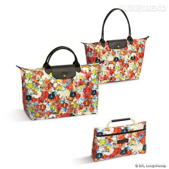 Collection Mary Katrantzou pour Longchamp, Printemps-Eté 2012. Pliage, 125€ Sac de voyage, 160€ Pochette, 55€
