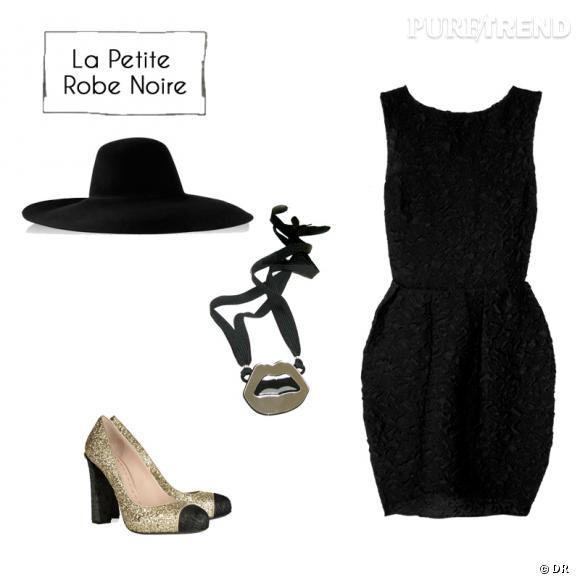 Robe (1602 €) et chapeau (1095 €) Lanvin sur www.net-a-porter.com, collier Yazbukey (90 €), escarpins Miu Miu (455 €).