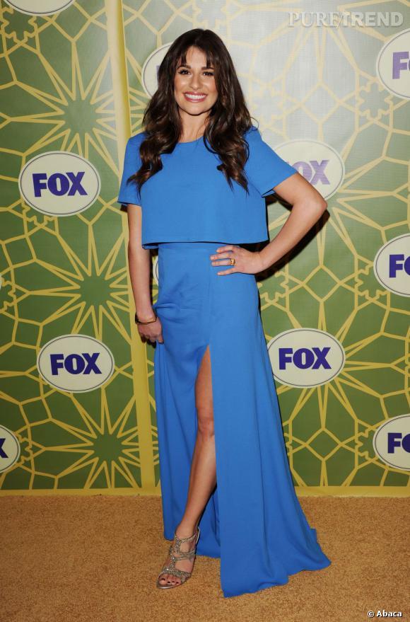 Dans cette robe bleue fendue et avec un tel sourire, Lea Michele nous a séduit.