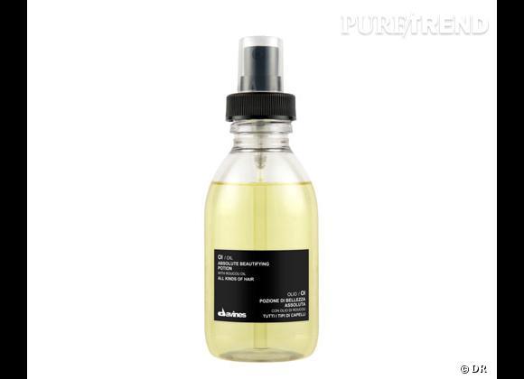 Les huiles capillaires :     OI/Oil, absolute beautifying poton, Davines. 33 €.