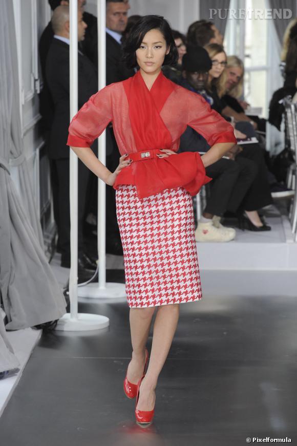 La tendance pied-de-poule sur les podiums    Dior, Haute Couture   Saison Printemps-Eté 2012