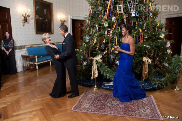 La rencontre la plus hype : autour du sapin avec le couple présidentiel... Ok, Meryl Streep a la classe.