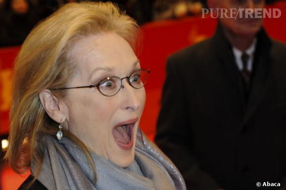 """Le pire """"effet de surprise"""" : avec ce gros plan visage, la surprise se transforme en grimace pour Meryl Streep."""