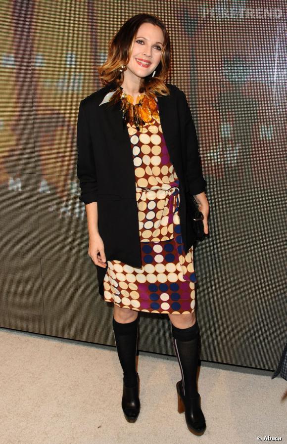 Drew Barrymore, lors de la présentation de la collection Marni pour H&M.