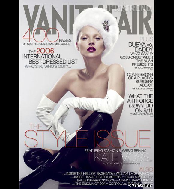 Kate Moss, topless ou presque pour Vanity Fair.