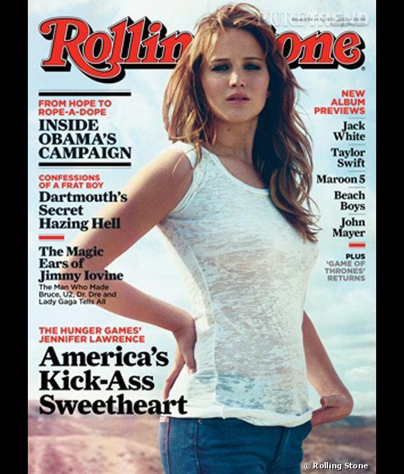 Jennifer Lawrence en couverture du magazine Rolling Stone pour avril 2012.