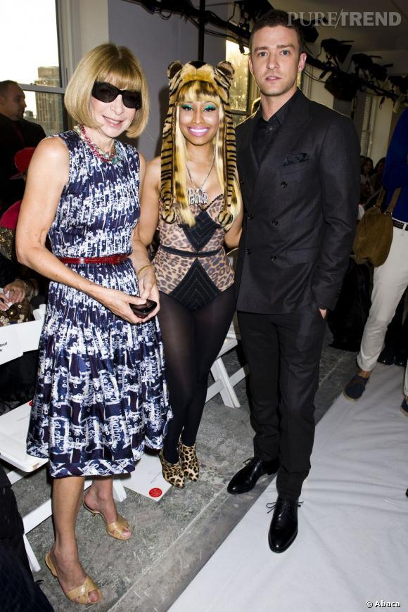 Nicki Minaj avec Anna Wintour et Justin Timberlake au défilé Oscar de la Renta le 13 septembre 2011.