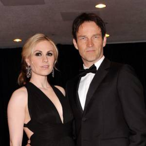 "Anna Paquin en Herve L. Leroux et Stephen Moyer les stars de ""True Blood"" et futurs parents."