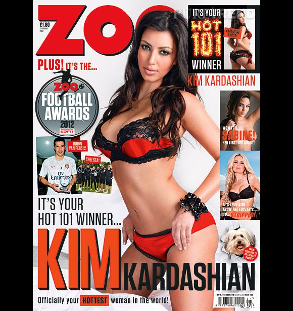 Kim Kardashian, élue femme la plus sexy du monde par le magazine anglais Zoo.