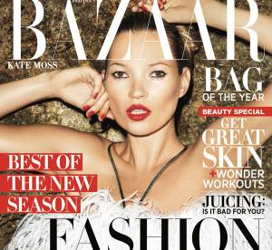 Kate Moss se couvre de plumes pour Harper's Bazaar