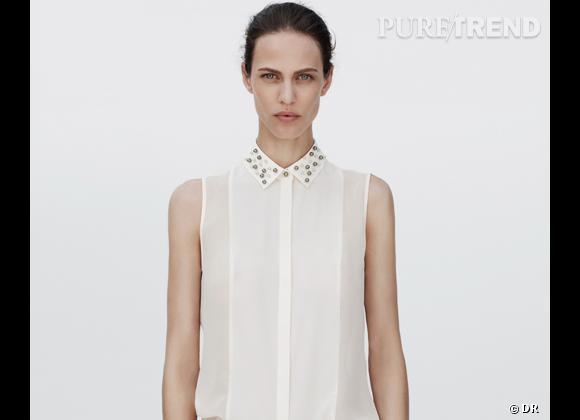Shopping tendance : les cols bijoux Chemisier Zara, 39,95 €