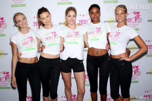 Les tops Lindsay Ellingson, Arlenis Sosa, Doutzen Kroes, Behati Prinsloo et Erin Heatherton à la seconde édition du Victoria Secret Annual Supermodel Cycle en faveur de la recherche contre le cancer.