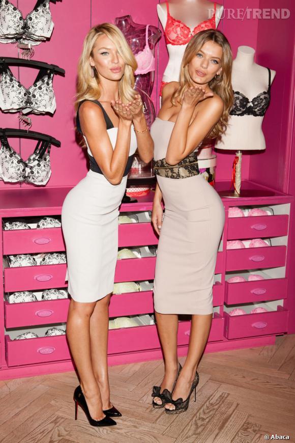 Candice Swanepoel et Bregje Heinen, plus glamour que jamais à la boutique Victoria's Secret de New-York.