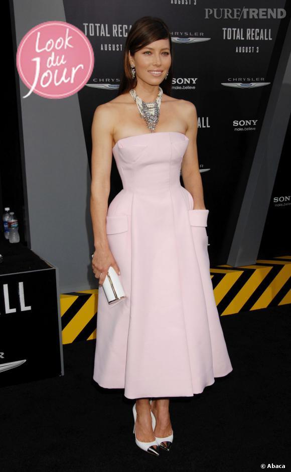 "Jessica Biel lors de la première de ""Total Recall"" à Los Angeles."