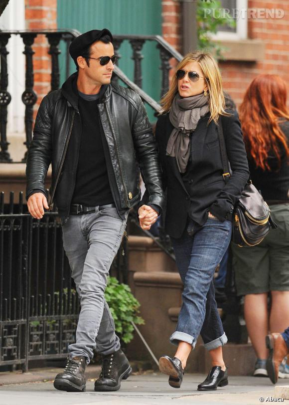 Jennifer Aniston et Justin Theroux, un couple heureux et amoureux à New York.