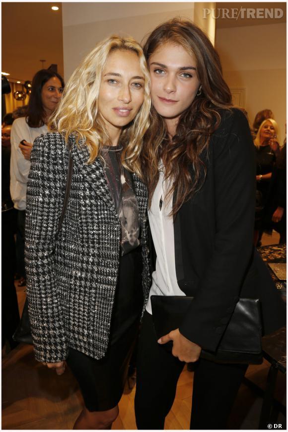 Alexandra Golovanoff et Elisa Sednaoui à l'ouverture de la nouvelle boutique Gérard Darel boulevard Saint-Germain à Paris.