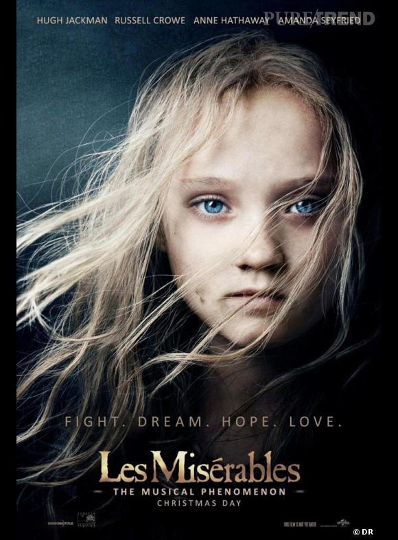 """Sur le premier poster promotionnel du film """"Les Misérables"""", on ne voit aucune star connue. Seule la jeune Isabelle Allen occupe l'affiche, ses cheveux blonds dans le vent."""