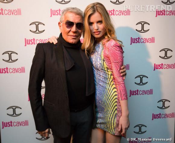 Roberto Cavalli et Georgia May Jagger à la soirée pour le lancement du parfum Just Cavalli For Her.
