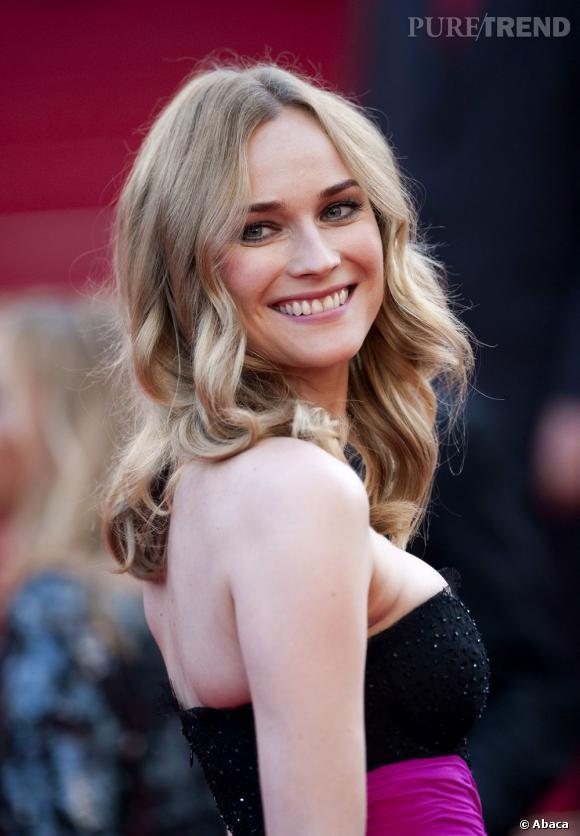 Sur le tapis rouge du festival de Cannes, Diane Kruger opte pour le naturel avec une chevelure lâchée et légèrement ondulée.