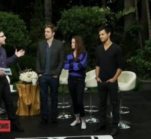 Robert Pattinson, Kristen Stewart et Taylor Lautner réunis pour une interview avec MTV.