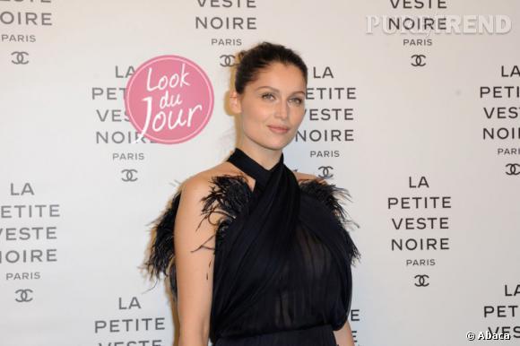 """Laetitia Casta lors de la soirée d'inauguration de l'exposition """"La Petite veste noire"""" de Chanel au Grand Palais."""