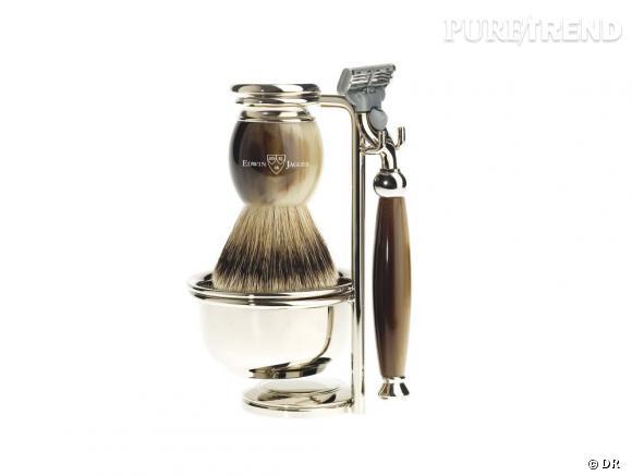 10 idées de cadeaux pour mon mec : un set de rasage Set de rasage type Corne fait main Edwin Jagger, 210 €. Disponible sur www.comptoirdelhomme.com