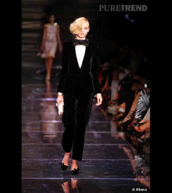 Inspiration podiums pour les fêtes : le smoking     Défilé Haute Couture Armani Privé Automne-Hiver 2008/2009